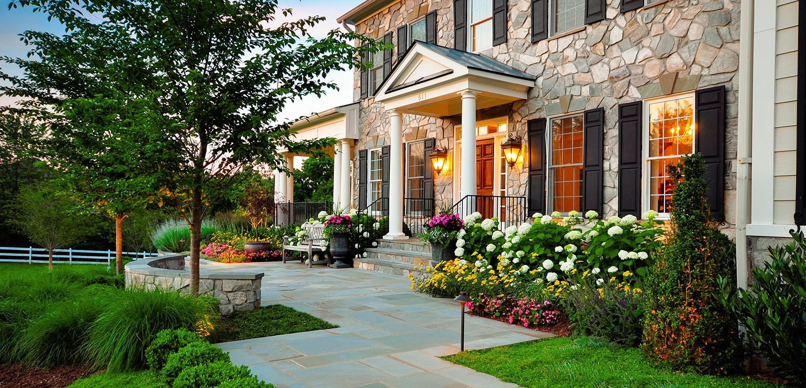 marvellous-green-rectangle-vintage-grass-front-yard-flower-beds-ornamental-trees-and-many-flowers-ideas